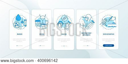 Lab Samples Onboarding Mobile App Page Screen With Concepts. Saliva Specimen, Skin Scraping Walkthro