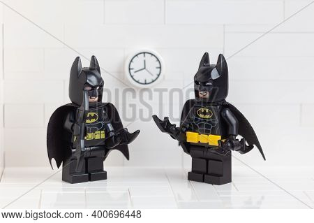 Tambov, Russian Federation - December 23, 2020 Two Lego Batman Minifigures Standing And Looking At E