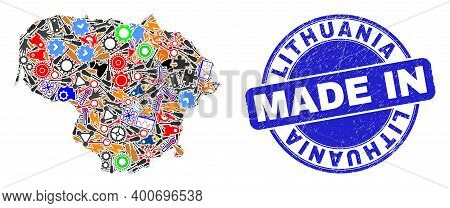 Industrial Lithuania Map Mosaic And Made In Scratched Stamp Seal. Lithuania Map Collage Formed With