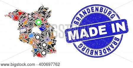 Service Mosaic Brandenburg Land Map And Made In Distress Stamp Seal. Brandenburg Land Map Mosaic For