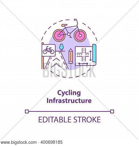 Cycling Infrastructure Concept Icon. Public Commuting Planning. Scheme For Urban Transport. Civil En