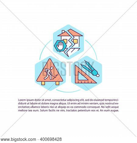 Constructing Earthquake-resistant Structures Concept Icon With Text. Minimizing Earthquake Damage. P