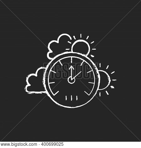 Barometer Chalk White Icon On Black Background. Measuring Air Pressure In Certain Environment. Meteo