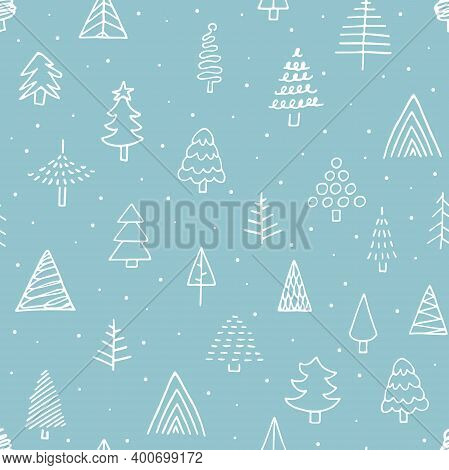 Seamless Vector Doodle New Year Dot Pattern. Hand-drawn White Outline Cute Christmas Tree On Blue Ba