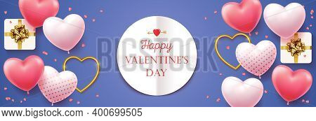 Happy Valentines Day. Horizontal Banner For The Website. Romantic Background With Realistic Design E