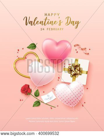 Happy Valentines Day With Calligraphy Text. Banner, Flyer, Poster, Greeting Card With Realistic Desi