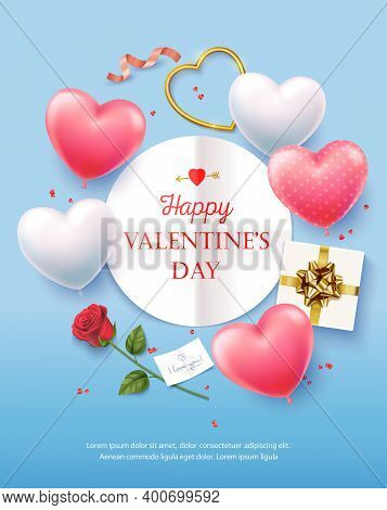 Happy Valentines Day. Banner, Flyer, Poster, Greeting Card With Realistic Design Elements, Gift Box,
