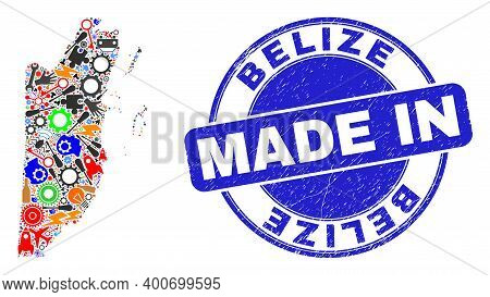 Engineering Belize Map Mosaic And Made In Scratched Rubber Stamp. Belize Map Collage Composed From W