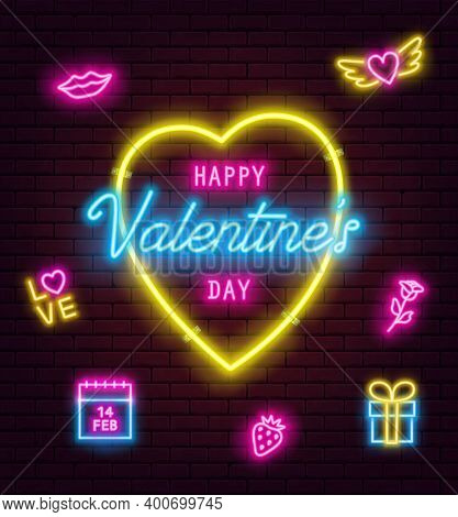 Valentines Day Neon Sign On Brick Wall Background. Banner, Flyer, Poster, Greeting Card With Glowing