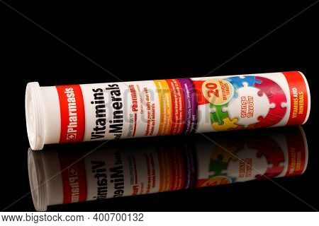 Lviv, Ukraine - December 11, 2020: Vitamins And Minerals In Soluble Tablets