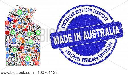 Production Mosaic Australian Northern Territory Map And Made In Scratched Stamp Seal. Australian Nor