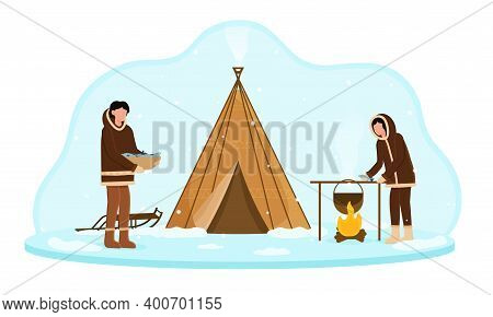 Eskimos Wearing Traditional Clothes Cooking Food On Fire Near Tent. Alaska People With Cauldron On F