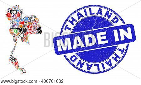 Service Thailand Map Mosaic And Made In Scratched Stamp Seal. Thailand Map Mosaic Created From Spann