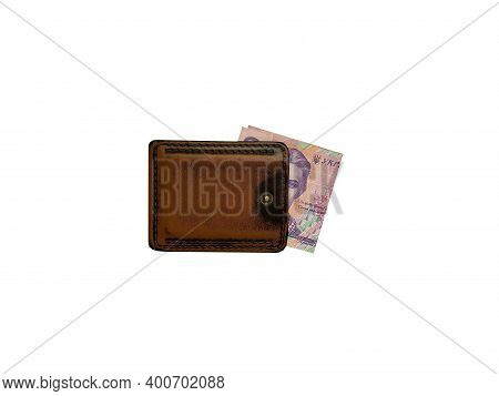 Wallet With Money Lies On A White Background. Leather Wallet Lies On A White Background.