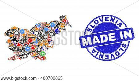 Technical Slovenia Map Mosaic And Made In Textured Watermark. Slovenia Map Mosaic Formed With Spanne
