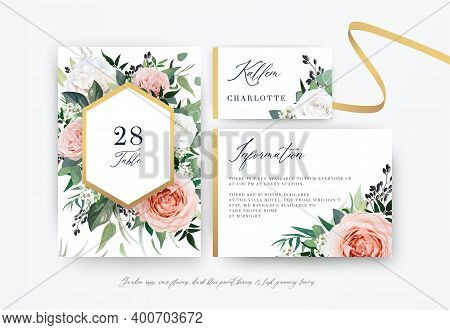 Stylish Floral Watercolor Vector Wedding Cards Set. Table Number, Details, Place Card. Blush, Peach,