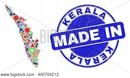 Service Mosaic Kerala State Map And Made In Grunge Rubber Stamp. Kerala State Map Abstraction Compos