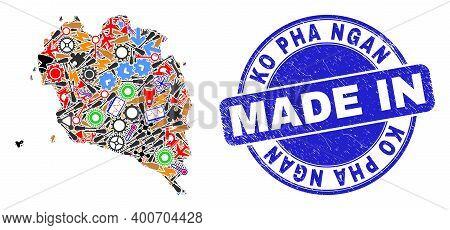 Engineering Mosaic Ko Pha Ngan Map And Made In Textured Rubber Stamp. Ko Pha Ngan Map Mosaic Compose