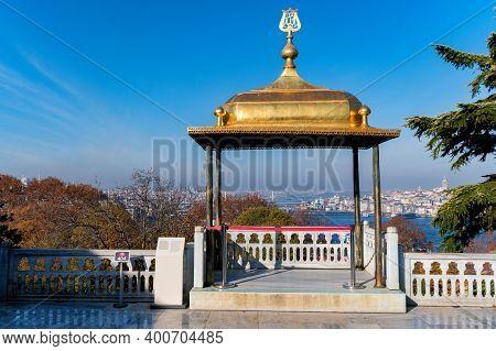 Close Up Of Golden Gazebo Of The Sultan At Topkapi, Istanbul, Turkey