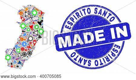 Component Espirito Santo State Map Mosaic And Made In Distress Stamp Seal. Espirito Santo State Map