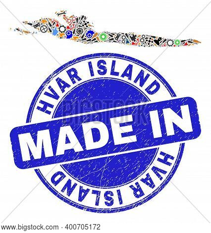 Development Hvar Island Map Mosaic And Made In Scratched Watermark. Hvar Island Map Mosaic Formed Wi
