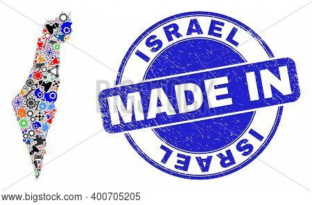 Engineering Mosaic Israel Map And Made In Distress Seal. Israel Map Composition Designed With Spanne