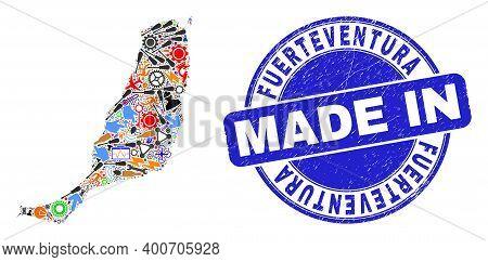 Industrial Mosaic Fuerteventura Island Map And Made In Grunge Watermark. Fuerteventura Island Map Mo