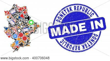 Production Donetsk Republic Map Mosaic And Made In Scratched Seal. Donetsk Republic Map Abstraction