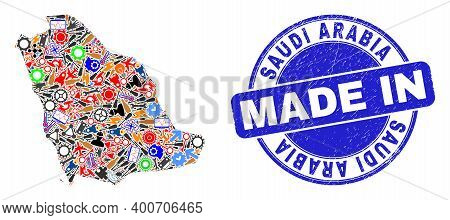 Technical Mosaic Saudi Arabia Map And Made In Scratched Stamp. Saudi Arabia Map Mosaic Formed From S