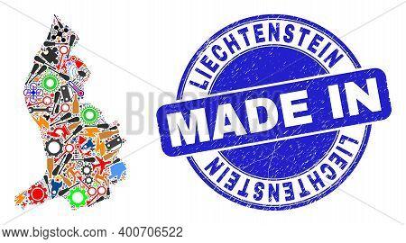 Engineering Liechtenstein Map Mosaic And Made In Textured Rubber Stamp. Liechtenstein Map Collage Co