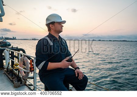 Marine Deck Officer Or Chief Mate On Deck Of Offshore Vessel Or Ship