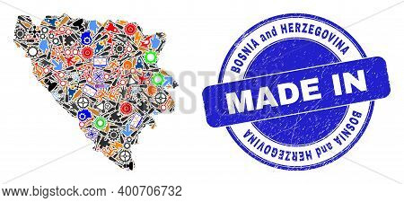 Component Mosaic Bosnia And Herzegovina Map And Made In Distress Stamp Seal. Bosnia And Herzegovina