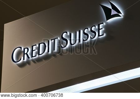 Lugano, Ticino, Switzerland - 26th November 2020 : Close Up Of Luminous Credit Suisse Bank Sign In L