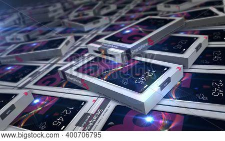 Smartphone 5G Package Production Line 3D Illustration