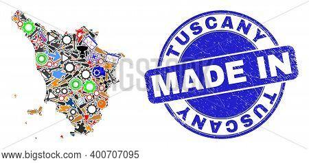 Engineering Tuscany Region Map Mosaic And Made In Textured Stamp Seal. Tuscany Region Map Mosaic Com