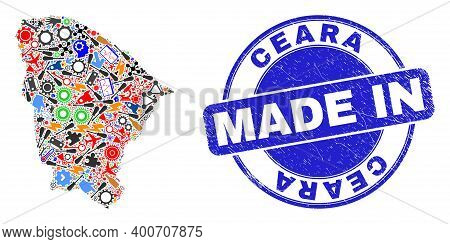 Production Ceara State Map Mosaic And Made In Grunge Rubber Stamp. Ceara State Map Collage Composed