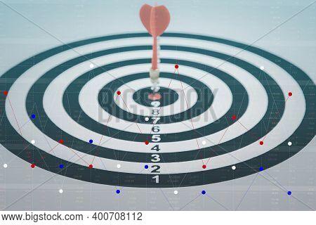 Close Up Shot Of The Dart Arrow Hit On Bullseye, Red Dart Arrow Hitting In The Target Center Of Dart