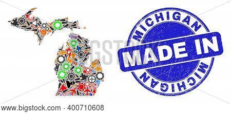 Development Michigan State Map Mosaic And Made In Distress Stamp Seal. Michigan State Map Mosaic Des
