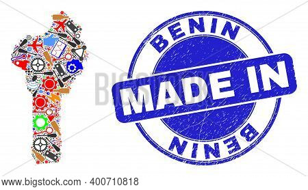 Engineering Mosaic Benin Map And Made In Grunge Stamp. Benin Map Mosaic Composed With Wrenches, Whee