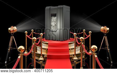 Podium With Paper Shredder, 3d Rendering Isolated On Black Background