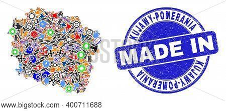 Development Kujawy-pomerania Province Map Mosaic And Made In Distress Stamp Seal. Kujawy-pomerania P