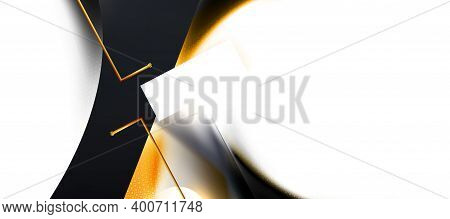 White, Black Abstract Background, Hex Texture. Combination Light Gold Line And Minimal Technology Sh