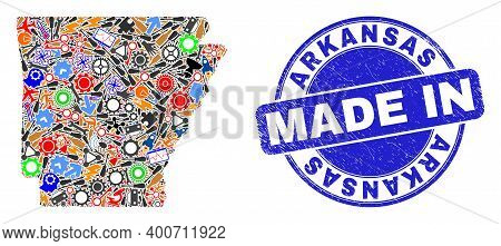 Industrial Arkansas State Map Mosaic And Made In Grunge Stamp Seal. Arkansas State Map Mosaic Formed