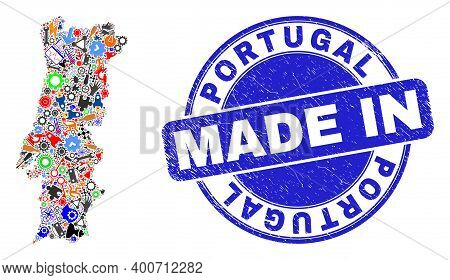 Technical Portugal Map Mosaic And Made In Textured Stamp. Portugal Map Mosaic Designed With Spanners