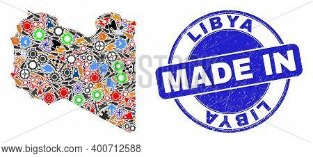 Production Mosaic Libya Map And Made In Distress Rubber Stamp. Libya Map Collage Formed With Spanner
