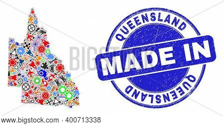 Development Australian Queensland Map Mosaic And Made In Textured Rubber Stamp. Australian Queenslan