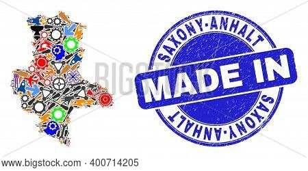 Industrial Mosaic Saxony-anhalt Land Map And Made In Distress Stamp. Saxony-anhalt Land Map Composit