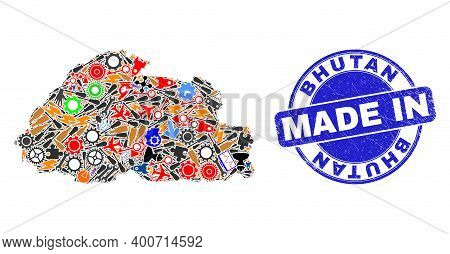 Technical Bhutan Map Mosaic And Made In Textured Stamp Seal. Bhutan Map Collage Composed With Spanne