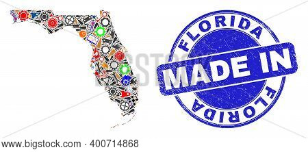 Service Florida State Map Mosaic And Made In Grunge Rubber Stamp. Florida State Map Abstraction Form
