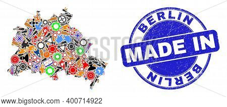 Development Mosaic Berlin City Map And Made In Distress Stamp. Berlin City Map Abstraction Designed